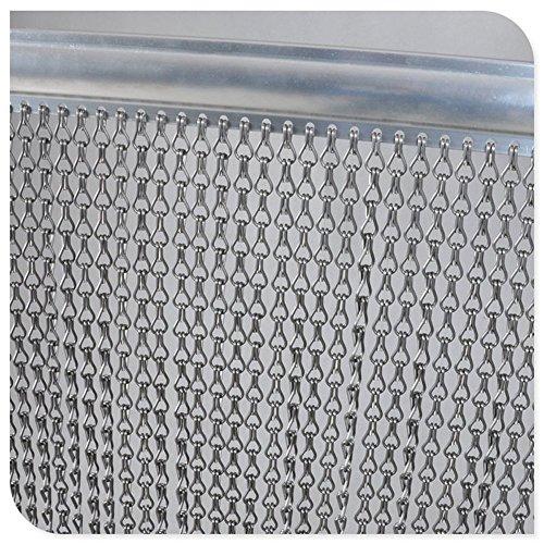 Hot wing Premium-Aluminium-Fliegengittertür Kettenvorhang Metall-Bildschirm für Fliegen-Insekten-Vorhang-Schädlingsbekämpfung, Insekt-Schirm, hält Insekten, Fliegen, Wespen, Doppelhaken-Fliegen-Schirm für Innen u