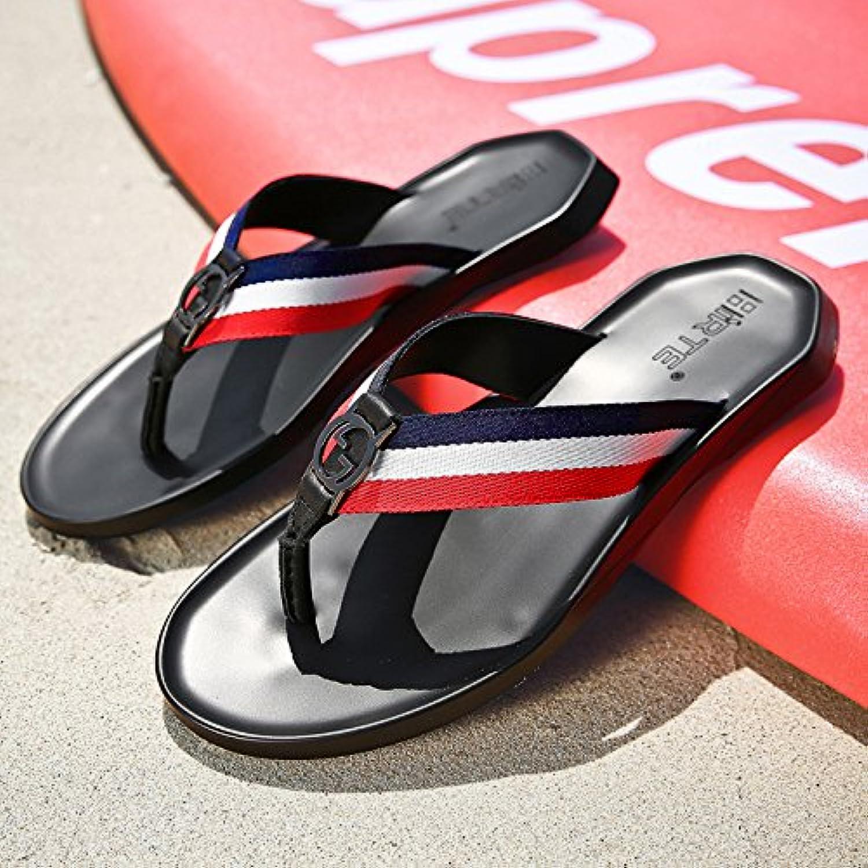 @Sandals Zapatillas, Hombre De Caracteres, Europeos Y Americanos Pies Antideslizante, Calzado De Playa,38,Negro