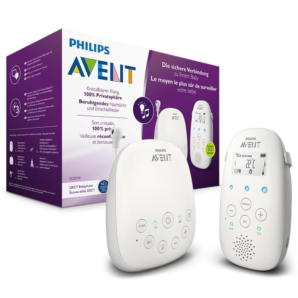 Philips AVENT SCD713/26 Audio-Babyphone, DECT-Technologie, Eco-Mode, 18 Std. Laufzeit, Gegensprechfunktion, Schlaflieder
