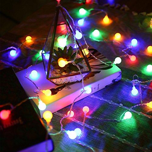 LE 50er LED Kugel Batteriebetrieben Lichterkette, 5m Farbig Lichterketten, IP44 wassergeschützt, Fernbedienung Zeitschaltuhr Merkfunktion, Ideal für Innen Außen Party Weihnachten Dekolampe RGB