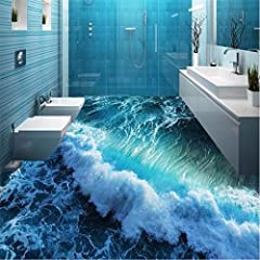 Idea Regalo - Lwcx personalizzato 3D Wave pittura Floor stickers decorazione Ground 3D Wallpaper Papier Peint 3D carta da parati 200X160CM