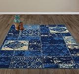 "5X7 , Damask Patchwork Blue : Diagona Designs Contemporary Patchwork Design Non-Slip Area Rug, 5'0"" W x 6'6"" L, Blue / Beige"