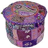 Stylo Kultur-Baumwoll-Patchwork gestickter osmanischer Hocker-Hocker-Abdeckungs-purpurroter hohes Ottoman-Hocker
