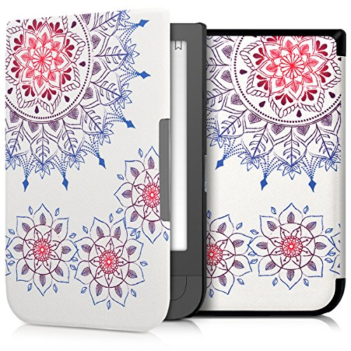 Preisvergleich Produktbild kwmobile Hülle für Pocketbook Touch HD / Touch HD 2 - Flipcover Case eReader Schutzhülle - Bookstyle Klapphülle Vintage Blumenring Design Pink Blau Weiß