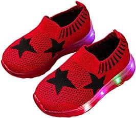 Saingace Baby Toddler Little/Big Kids Girl Boy Mesh Led Light Star Sport Air Casual Anti-Slip Sneaker Running First Walking Shoes
