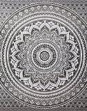 """Shanna - arazzo da parete, tappeto da parete, arazzi decorativi da parete, arazzo stampato per soggiorno e camera da letto, Mandala - Grey, 78"""" x 59"""""""
