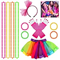 80s Fancy Dress Costume Accessories for Women Girls, Set of 12 Fancy Dress Party Accessories, 80s Neon Skirt + Neon Bracelets + Bead Necklaces + 80s Lace Bow Headband + 80s Gloves