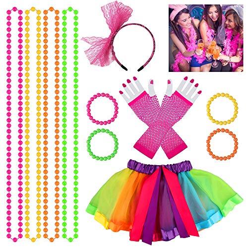 Heqishun 80s Disfraces Accesorios de Disfraces Adultos para Baile de Disfraces de los 80 Disfraz para Mujeres Niñas 80s Tutú Fantasía Set de Vestuario de 80s Fiesta de los 80