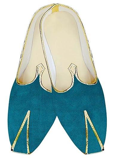 Mens Teal Velvet Wedding Mojari Shoes MJ13963