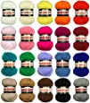 Marriner Yarns Midget Double Knit Starter Bumper Pack | 20 x 25g Balls of Assorted Double Knitting Yarn | Colours As Shown| Made In The UK | 100% Acrylic