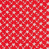 Fabulous Fabrics Baumwollstoff Popeline Maritim - rot/Weiss