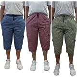 Men's Cotton Checkered Printed 3/4 Capri, Shorts, Multicolor Pack-of -3