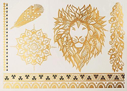 Mandala Lion Tatouages Temporaires Métalliques tatouages flash bijoux de peau Or Argent Bleu 041
