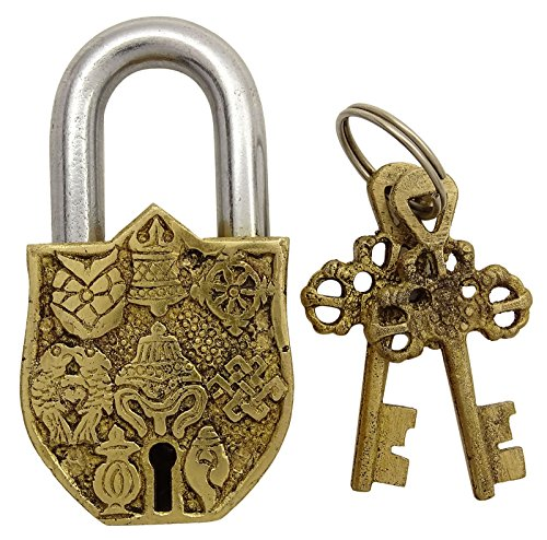 Messing Gold Ton Metall Ausgangsdekor Vishnu Symbol Vorhängeschloss Handmade Dekorative Verschluss -