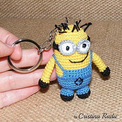 Minion Bob Schlüsselanhänger Spielzeug, Kuscheltiere, Despicable Me Charakter, gefüllte Amigurumi