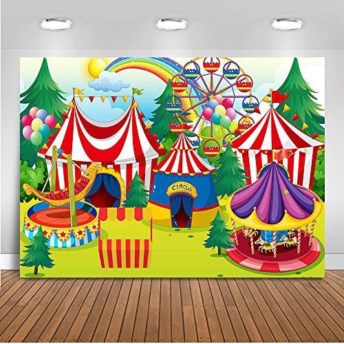 rkus Geburtstag Banner Hintergrund 7x5ft Vergnügungspark Riesenrad Rainbow Camps Foto Kulissen Nahtlose Cartoon Fotografie Studio Requisiten ()