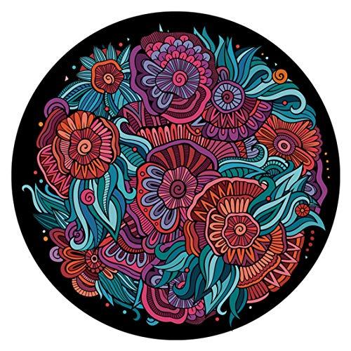 Jsfnngdv Runde Teppiche Retro Floral Shag Teppich rutschfeste Unterstützung Wohnzimmer Flur Schlafzimmer (Size : 80cm) (Shag Floral Teppiche)