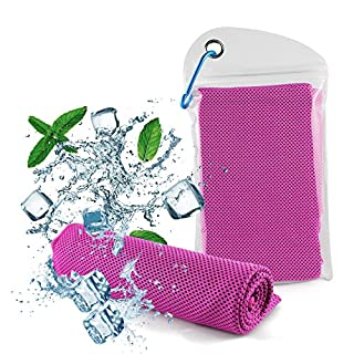 Diswoe cooling towel, Ice Towel, Soft Breathable Chilly Towel- Microfiber Towel Yoga, Sport, Running, Gym, Workout,Camping, Fitness, Workout & More Activities (Pink)