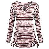 SEWORLD 2018 Damen Mode Sommer Herbst Schal Beiläufige Streifen Druck T-Shirt Langarmshirts Bluse(Rot,EU-44/CN-L)
