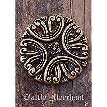 Cinturón Hebilla con flores LARP gürtelschließe Vikingo Medieval Plata o bronce, marrón