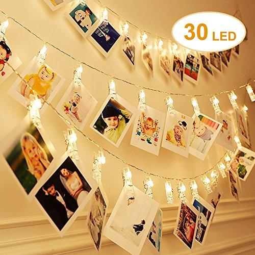 LED Foto Clip Lichterkette 30 LED 7M warmweiß 8 Modi EU Stecker LED Beleuchtung für Weinachten, Geburtstag, Valentinstag, Hochzeit Fest und Party