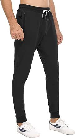 Sykooria Pantaloni da Jogging da Uomo può Appendere Gli Asciugamani Pantaloni Sportivi con Multi Tasche con Cerniera Pantaloni Casual per Jogging,Trekking,Palestra,Fitness