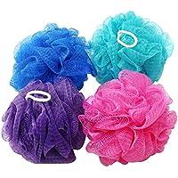 com-four® 4X Esponja de Ducha - Esponja de baño en Grandes Colores - Esponja de Lavado para la Ducha - Esponja de Masaje - Barra de Ducha [¡la selección de Colores varía!] (04 Piezas)