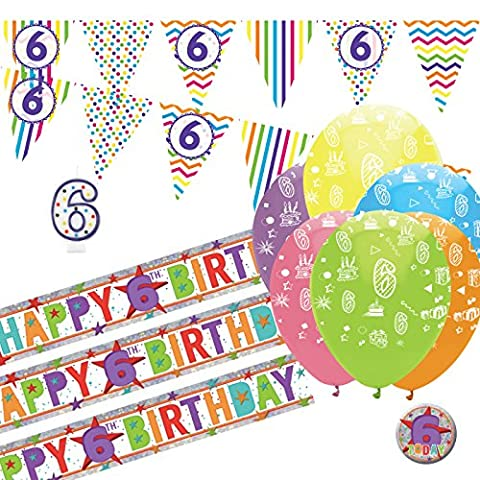 6th Birthday Kit: 6th Birthday Bunting, Banners, Balloons, Badge, Candle