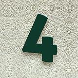 Colours-Manufaktur Hausnummer Nr. 4 - Schriftart: Modern - Höhe: 20-30 cm - viele Farben wählbar (RAL 6005 moosgrün (grün) glänzend, 20 cm)