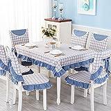 ANHPI Schmutz-beständig Gitter Britische Art Haus Tischdecke Multi-Größe Mehrfarben Ein Satz 2 Ornamental Design,Blue-150*200cm