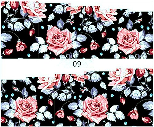 1 planche de Slider/Wrap/Full Cover Nail Stickers pour ongles, Hydrosoluble : yzw-009 roses