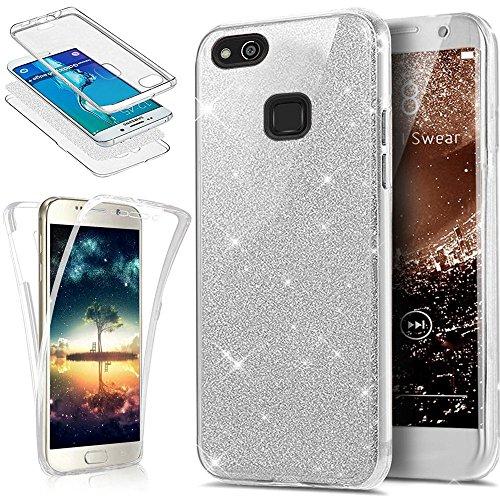 SainCat Funda Huawei P10 Lite, 360 Grados Cobertura para Ambas Caras Carcasa 3 en 1 con Flash Polvo Carcasa Ultra-Delgado TPU Transparente de Silicona Cover Lite-Silver