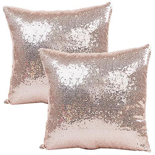 JOTOM Funda de Almohada con Lentejuelas con Brillo de Color sólido, Funda de cojín Cuadrada para sofá...