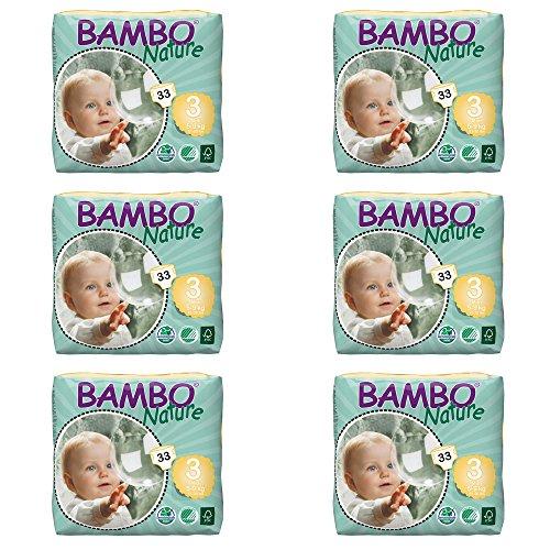 Bambo Nature Eco Pañales, Midi/tamaño 3, 5A 9kg, 33piezas por pack, pack de 6