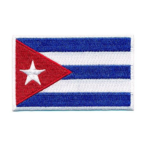 Preisvergleich Produktbild 60 x 35 mm Kuba Flagge Karibik Havanna Cuba Flag Patch Aufnäher Aufbügler 0656 B