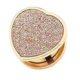 Piercingfaktor Ohr Plug Flesh Tunnel Piercing Ohrpiercing Schraub Schraubverschluß Kristall Herz Vintage Glitzer Rosegold Rose Gold 10mm