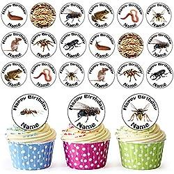 24décorations personnalisées pour cupcakes ou gâteaux d'anniversaires - Décorations comestibles en forme de ronds pré-découpés avec dessins d'insectes