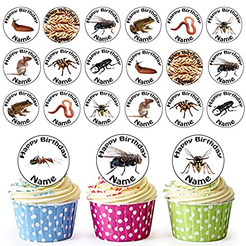 Bug / Insect Mix 24 Personalised Edible Cupcake Toppers / Birthday Cake Decorations - Easy Precut Circles