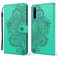 ‏‪EnjoyCase Wallet Case for Xiaomi Redmi Note 8,Pretty Embossed Peacock Flower Pu Leather Magnetic Closure Hand Strap Kickstand Shockproof Protective Flip Cover with Card Holder‬‏