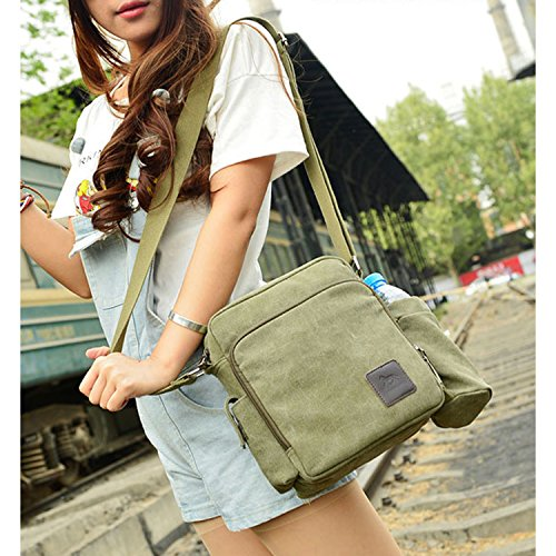 Outreo Borsa Tracolla Uomo Borse da Spalla di Tela Canvas Messenger Bag Vintage Sacchetto di Tablet Piccolo Borsello per Studenti Scuola Università Tasche Viaggio Outdoor Sport Tasca (Verde) Verde One