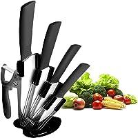 CORESLUX Ensemble de Couteaux en céramique, Ensemble de Couteaux de Chef de Cuisine, Couteau à Pain Super Sharp Cinq…