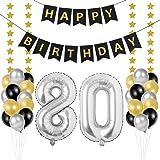 Palloncini 80 Anni Compleanno, Kit Decorazioni 80 Compleanno, palloncini numeri 80 Argento 102 CM, happy birthday striscione