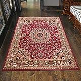 Carpeto Klassischer Orientteppich & Perserteppich mit Orientalisch Ornamente Mandala Muster Kurzflor in Beige Rot/Top Preis - ÖKO Tex (120 x 170 cm)