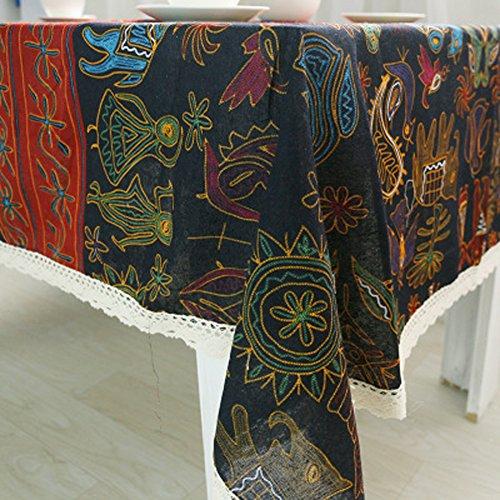 Jiayou tovaglia in cotone e lino vento nazionale multiuso tovaglia su misura tavolo da tè bohemien panno universale casa,140 * 180cm