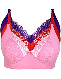 9b17a105e3 Generic Women s Cotton and Net Non-Padded Bra Set with Adjustable Strap -  Pack of