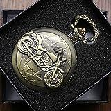 GZHDN Taschenuhr Bronze MotorradTaschenuhr Unisex Hängeband