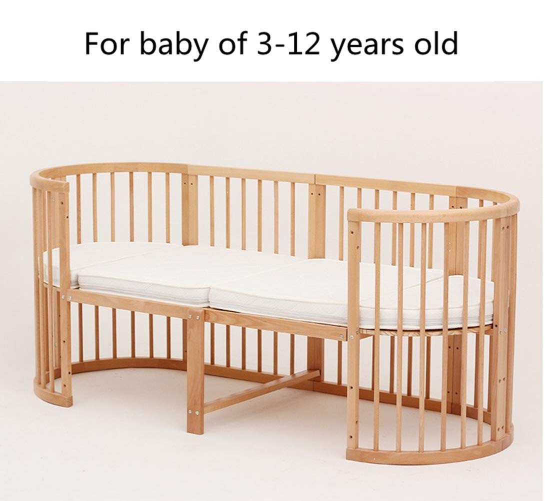 KLI 5 In 1 Multi Function Newborn Infant Crib Solid Harmless Paint Wood Baby Cradle Rocking Bed,125 * 73 * 76Cm KLI Shipping list : crib Size:125*73*76cm. Natural pine wood, harmless paint, polished and smooth, environmental wood, good for your baby 3 grade height adjustment: grade 1 (39cm from the floor)can be used for baby in 0-6 month, convenient to take out baby; grade 2 (26cm from the floor) for baby in 6-12 months and can stand independently;grade 3 (15cm from the floor) for baby in 1-3 years old. 5