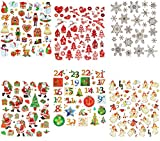 54 tlg. Set Sticker / Aufkleber - Rentier Herzen Weihnachtsbaum Weihnachten Weihnachtskugeln - mit Glitzer - Weihnachtsaufkleber - Geschenkeaufkleber
