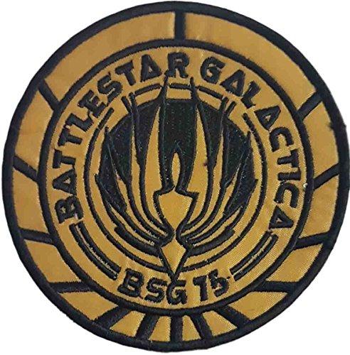 Battlestar Galactica Abzeichen (Battlestar Galactica BSG 75Gold Stoff bestickt abzeichen Patch Aufnäher oder zum Aufbügeln 9cm)