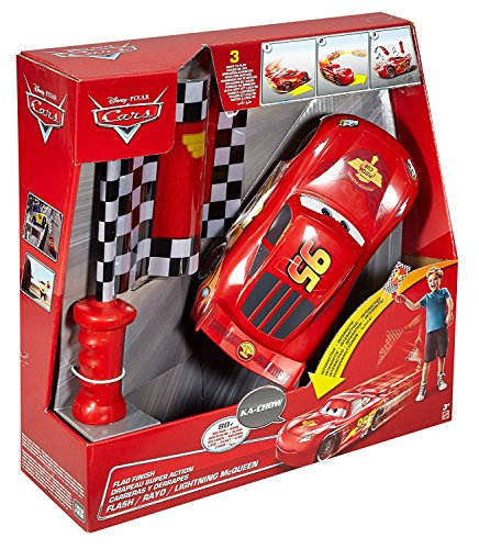 Mattel Disney Cars DPL07 Flag Finish Mc Queen, Fahrzeuge mit Funktion